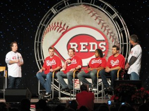 Brantley, Bruce, Hanigan, Volquez, Votto, and Welsh on the main stage.
