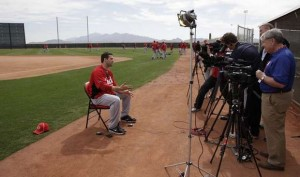 Votto has so many interviews after winning the MVP that he carries a folding chair with him at all times.