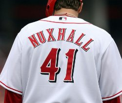 Aaron Harang Wearing Joe Nuxhall's Name and Number in Tribute