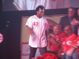 Johnny Cueto being introduced on the main stage