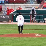 Morgan throwing the ceremonial first pitch for Reds Opening Night