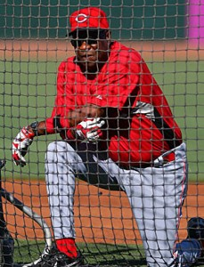 Dusty Baker behind the net