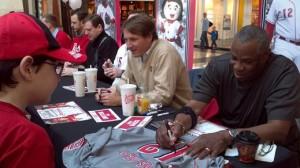 Dusty Baker signing an autograph at Reds Caravan 2012. Photo: Jon Cross