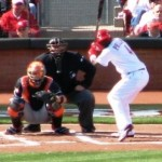 Brandon Phillips awaits the first pitch of the 2012 season.