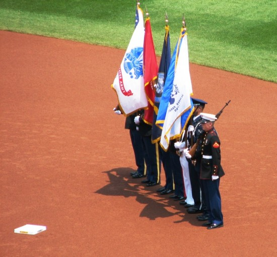 The color guard during the national anthem