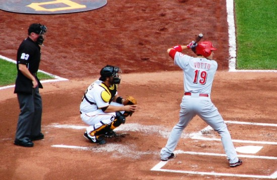 Votto about to get a hit