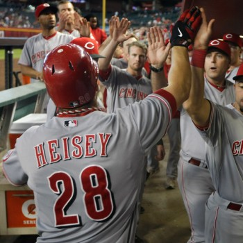 Heisey gets high fives after one of his two home runs. (Photo by Ralph Freso/Getty Images)
