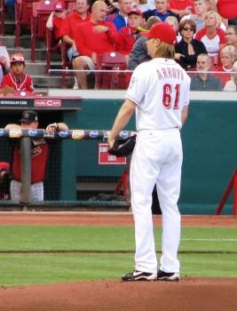 Arroyo about to pitch. (Photo RHM/Jon Cross)