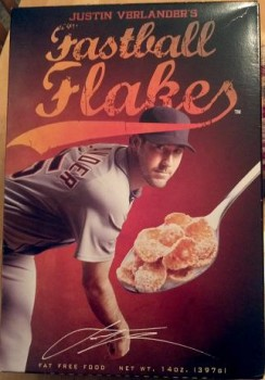 A box of Justin Verlander's Fastball Flakes