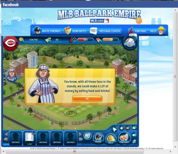 Screenshot of the MLB Ballpark Empire character saying you could cash in by selling concessions