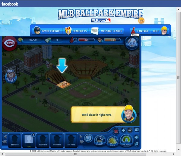 Screenshot of trying to place a hot dog stand in Ballpark Empire