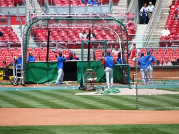Cubs batting practice before the game
