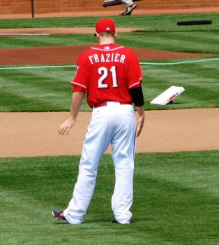 Frazier stretches before the start of the game