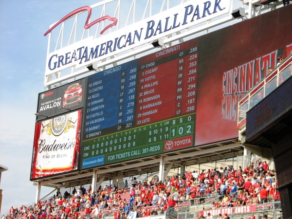 The scoreboard after the Reds loss
