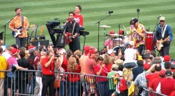 John Stamos performs with the Beach Boys