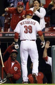 Mesoraco returns to the dugout after tying the game.