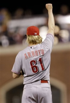 Bronson Arroyo celebrates after pitching a shutout win.
