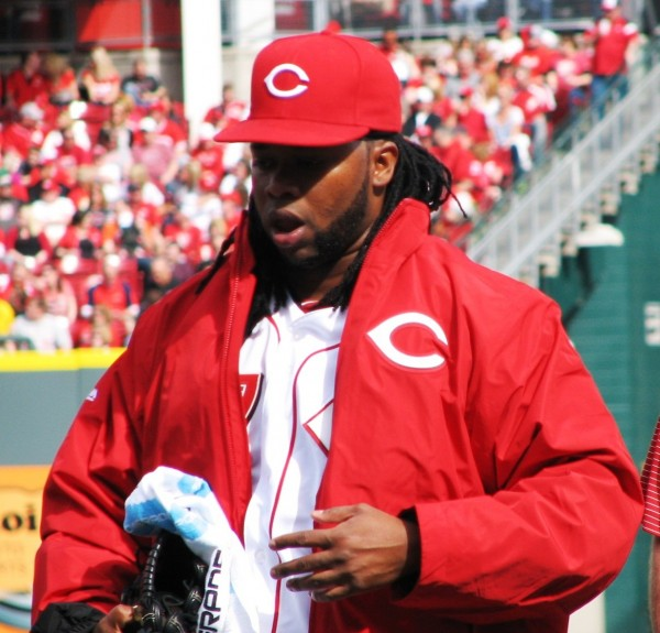 Cueto jogs to the dugout after warming up.