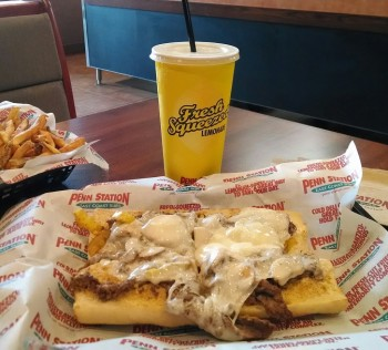 A philly cheesesteak sub and lemonade at regular price.