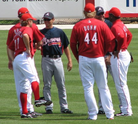 Bruce, Keppinger, Dunn, and Griffey chatting with the enemy
