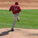 Chapman about to throw. Fast