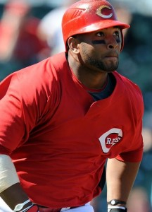 GOODYEAR, AZ - MARCH 11:  Wladimir Balentien #25 of the Cincinnati Reds runs to first base during a Spring Training game against the Milwaukee Brewers on March 11, 2010 at Goodyear Ballpark in Goodyear, Arizona.  (Photo by Lisa Blumenfeld/Getty Images)
