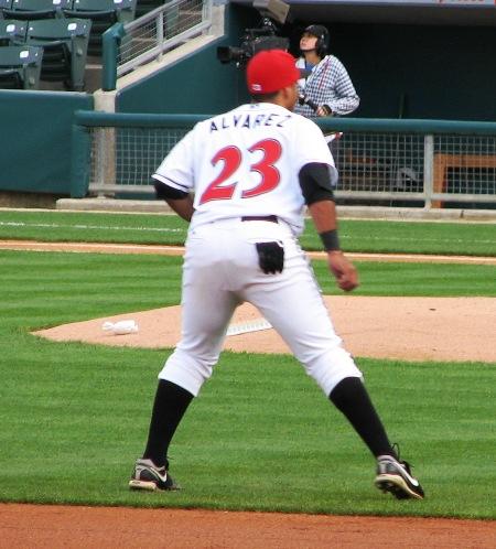 Alvarez playing third base