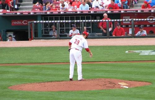Harang preparing the mound before pitching