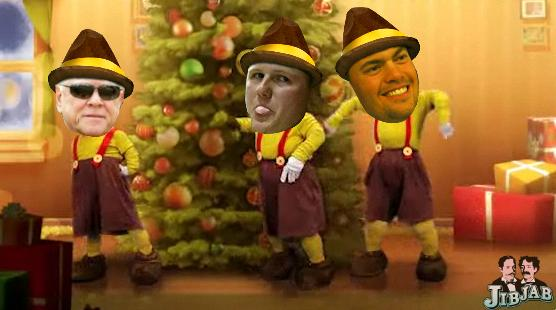 Walt Jocketty and the new guys in a holiday dance number